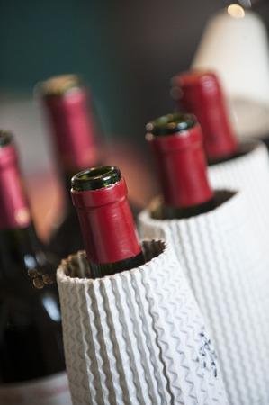 Bottles of red wine, tasting in the blind, Bordeaux, France Stock Photo