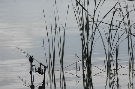 jigging: Fishing rod in the lake, waiting for the key, France