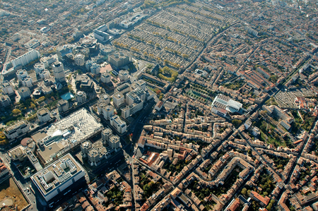 urbanism: Aerial view of the city of Bordeaux, France Stock Photo