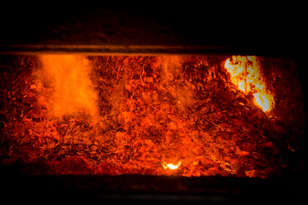 Hot steel pouring in steel plant, iron, aluminium Stock Photo