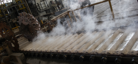 Stack of raw aluminum ingots in aluminum profiles factory, France Stock Photo - 71963190