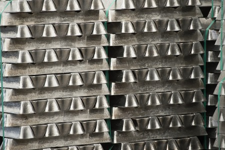 Stack of raw aluminum ingots in aluminum profiles factory, France Stock Photo - 71962508