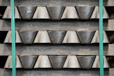 Stack of raw aluminum ingots in aluminum profiles factory, France Stock Photo - 71962500