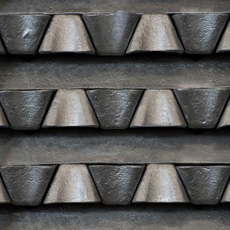 Stack of raw aluminum ingots in aluminum profiles factory, France Stock Photo - 71963278