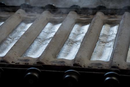 silver ingots: Stack of raw aluminum ingots in aluminum profiles factory, France