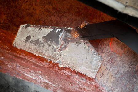 aluminium: Hot steel pouring in steel plant, iron, aluminium Stock Photo