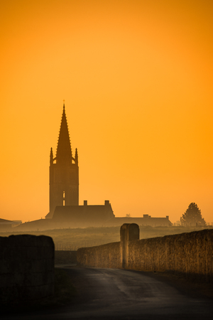 Saint Emilion Sunrise, Bordeaux Vineyard, France Stock Photo