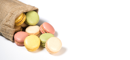 Cake macaron or macaroon isolated on white background, sweet