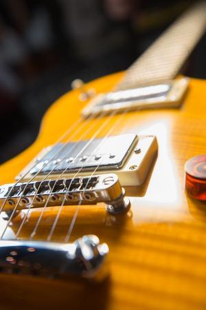 Close up of an electric guitar bridge Stock Photo