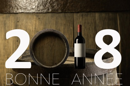 New Year Celebration with wine 2018 on barrel background Stock Photo