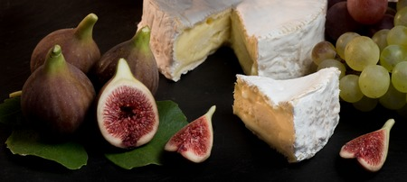 cheese with fresh figs, camenbert, France