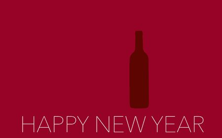New Year Celebration with wine 2018 on red background Stock Photo