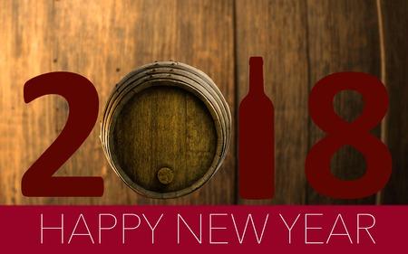 New Year Celebration with wine 2018 on landscape background