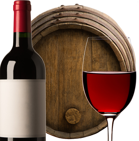 Barrel Wine, Bottle of Wine, Glass of red wine on a white background, France