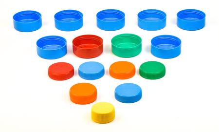 Plastic bottle screw caps isolated on white background Stock Photo