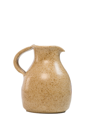 Terracotta Old pitcher, isolated on white background