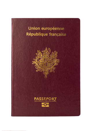 French passport on a white background, France