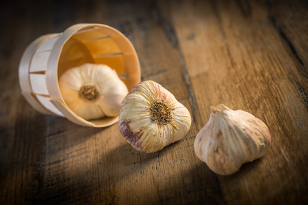 Garlic Cloves and Garlic Bulb on vintage wood background, France