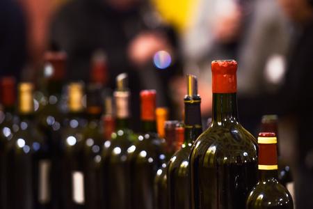 Row of vintage wine bottles in luxury wine cellar, Drink 版權商用圖片