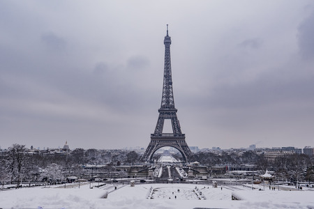 Eiffel Tower, Snowy day in Paris, France, Europe