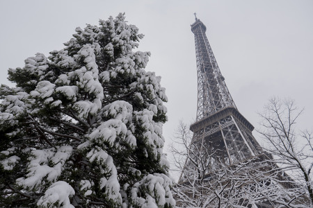Eiffel Tower, Snowy day in Paris, France, Europe