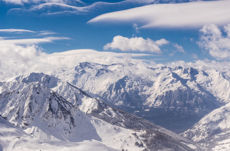 Winter mountains panorama with ski slopes, Bareges, Pyrennees, France