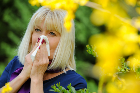 Senior Woman Allergy Pollen Stock Photo