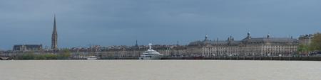View of Pont de Pierre bridge from quay of Bordeaux city, France