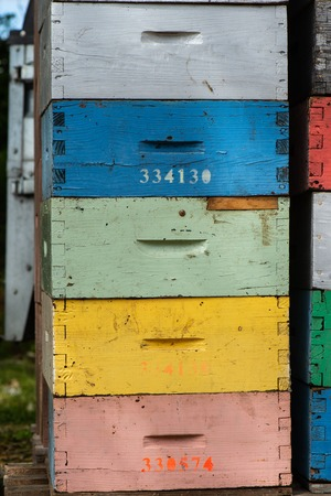 Beekeeping boxes stacked and ready to be transported, France Banque d'images