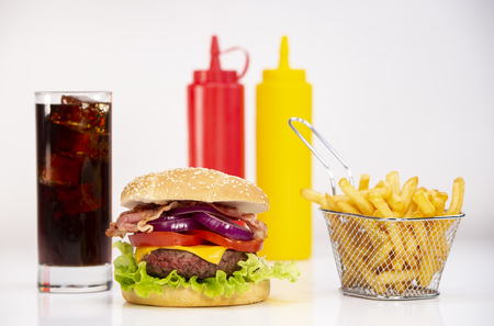 Burger with French fries cutlet with cheese and tomato and coca Stok Fotoğraf