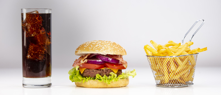 Burger with French fries cutlet with cheese and tomato Stok Fotoğraf