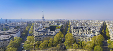 Paris, Eiffel tower, Aerial view, Spring, France, Europe