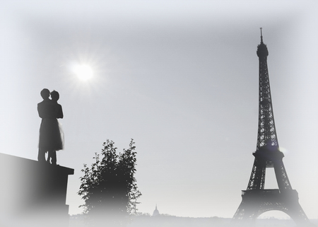 Couple of young Chinese married in front of the Eiffel tower in Paris, France Stock Photo