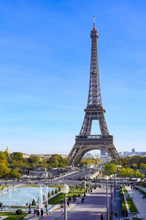 Eiffel Tower on blue sky in Paris, France Stock Photo