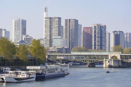 Buildings on Quai de Bercy near the Seine in Paris, France 写真素材