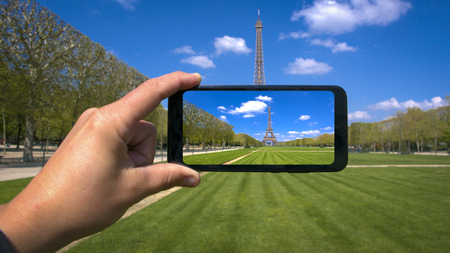 Taking Picture of Eiffel Tower, Paris, France Stock Photo