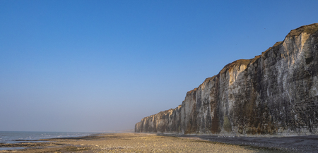 Cliff and Lighthouse at the entrance to the port of Saint Valery en Caux, Normandie