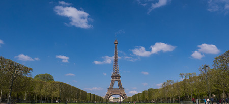 Eiffel tower and cloudy sky, Paris, France Stock Photo - 122079253