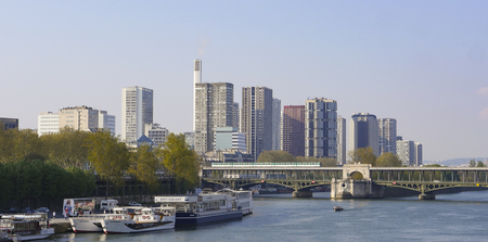 Buildings on Quai de Bercy near the Seine in Paris, France Stock Photo