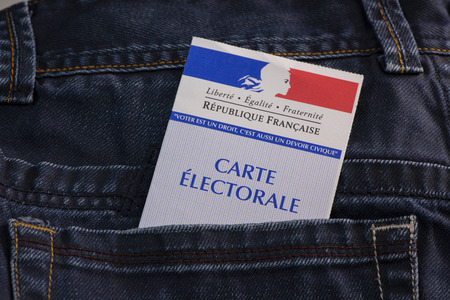 French electoral voter card official government allowing to vote
