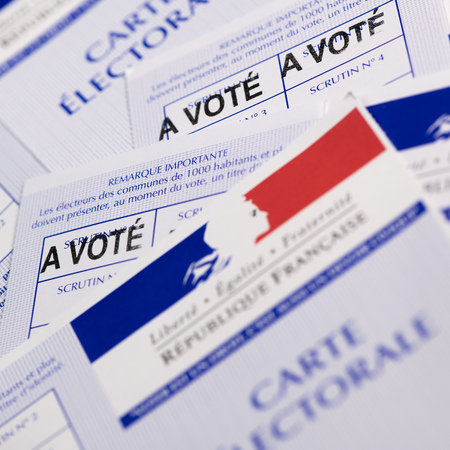 French electoral voter cards official government allowing to vote paper on white background