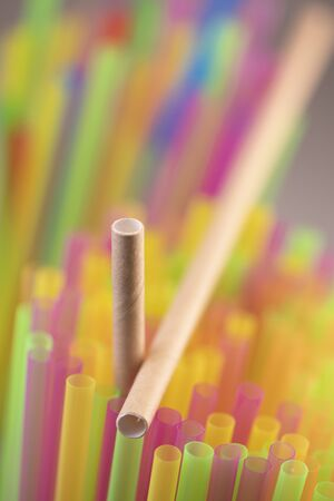 Natural Straw and straws plastic drinking background colourful full screen many group plastic single use ban banned in EU