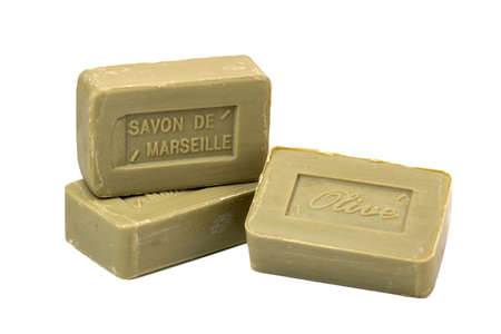 Marseille soap natural Multicolor soaps handmade with organic oil of olive on white