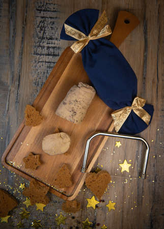 Festive canape, gingerbread toast and foie gras, french traditional festive gastronomy
