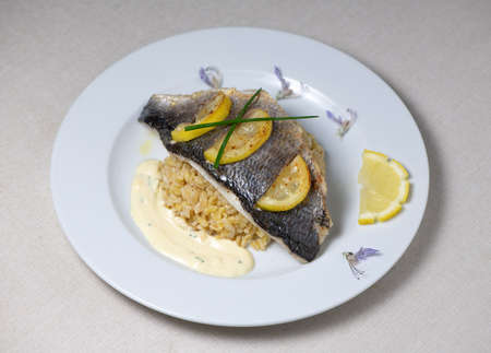 Lemon spiked sea bream fillet, cooked wheat risotto