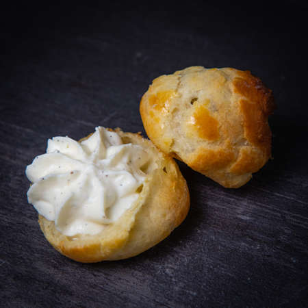 Dessert, Pastry, cream puff with whipped cream