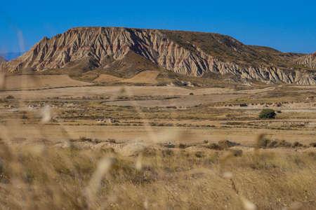 Spain, Navarre, Arguedas, Bardenas Reales desert, natural park classified as Biosphere Reserve, Castil de Tierra, the emblematic fairy chimney