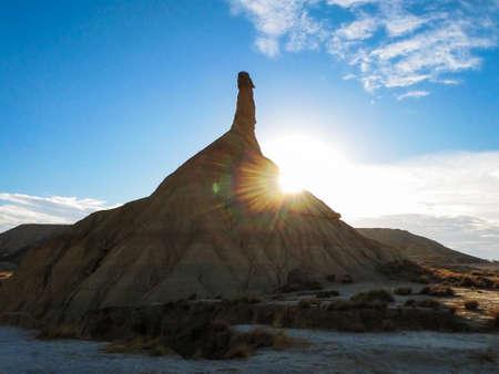 Spain, Navarre, Arguedas, Bardenas Reales desert, natural park classified as Biosphere Reserve Stock Photo