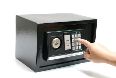 black safe safe with code lock Standard-Bild