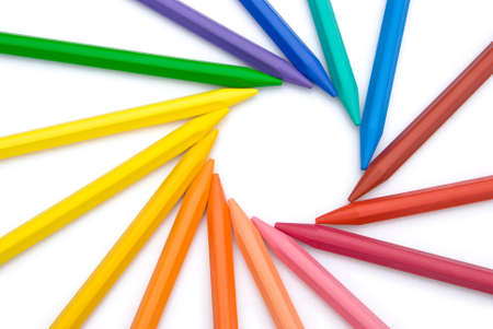 lined up: 15-color crayon lined up in circle Stock Photo